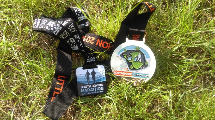 South Downs and LIttle Downs Marathon medals